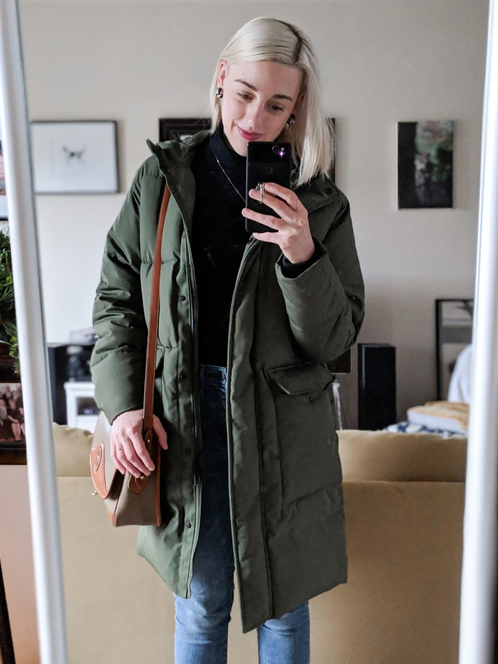 author in the everlane renew long puffer