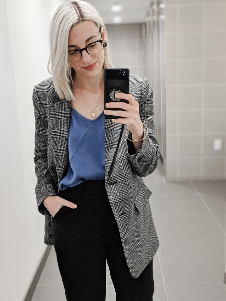 everlane oversized blazer and silk cami