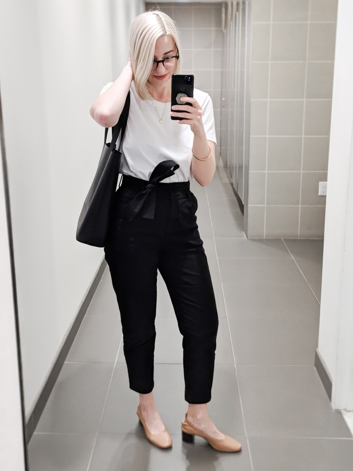 black and white outfit everlane day heels