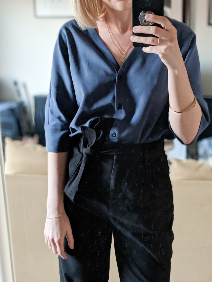 vetta capsule boyfriend shirt review washed navy