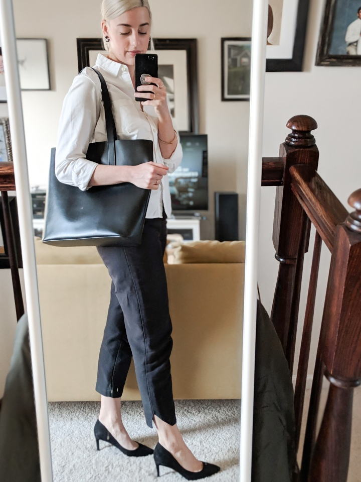 everlane day square tote review outfit
