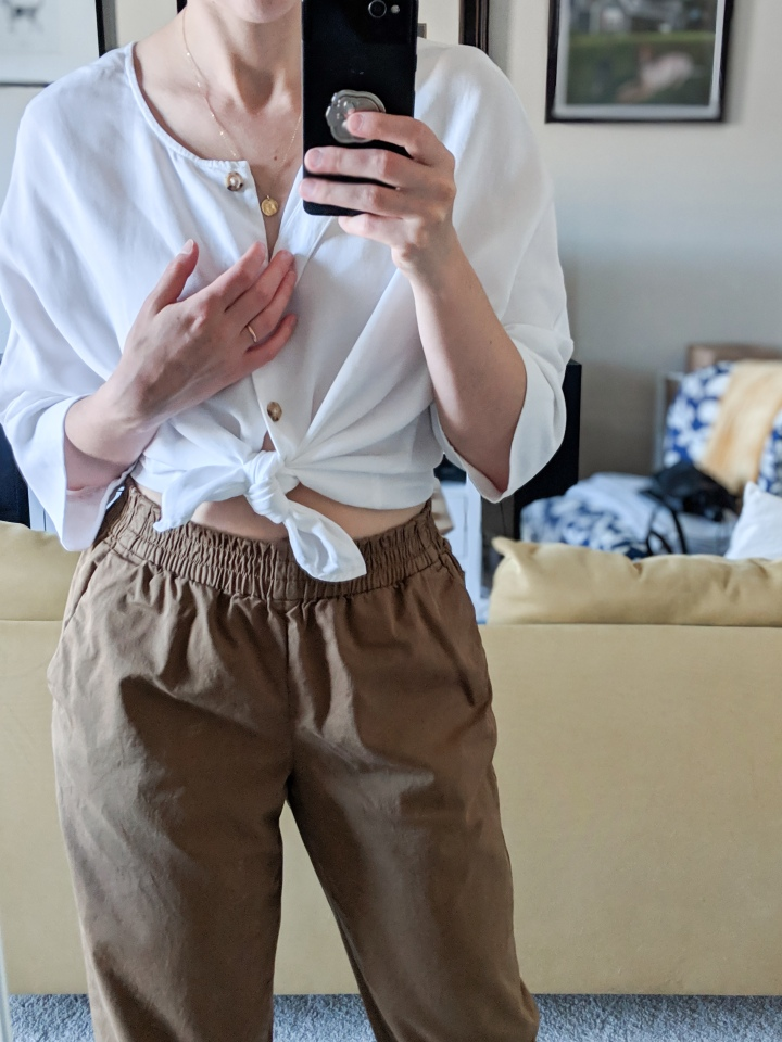 vetta capsule boxy blouse and everlane chinos