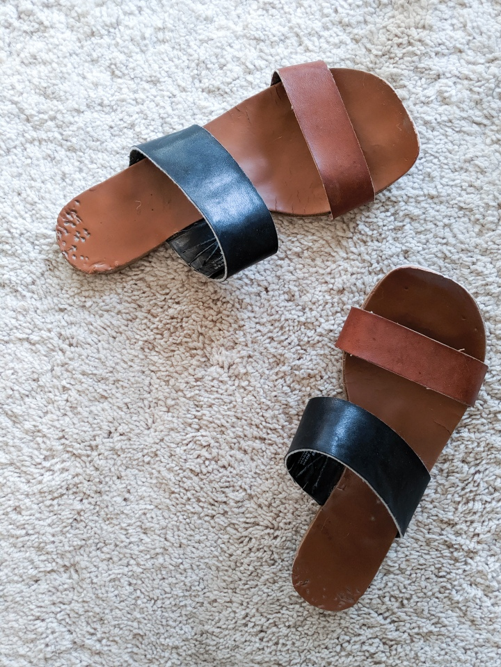loft sandals with dog chew marks
