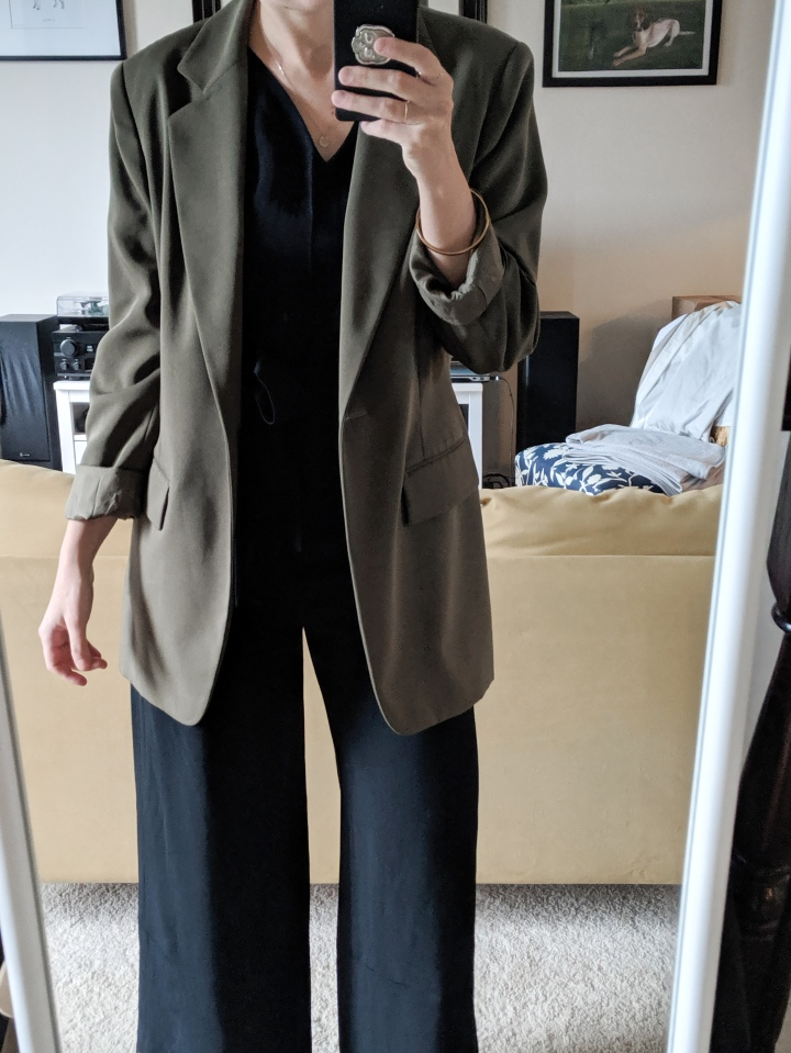 everlane goweave jumpsuit with blazer