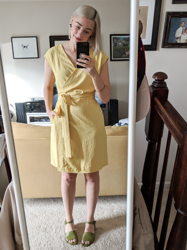 everlane go weave wrap dress yellow