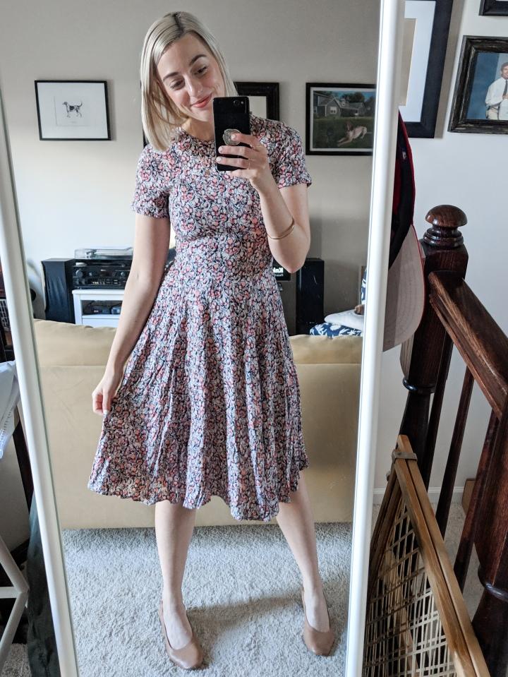 pink floral midi dress