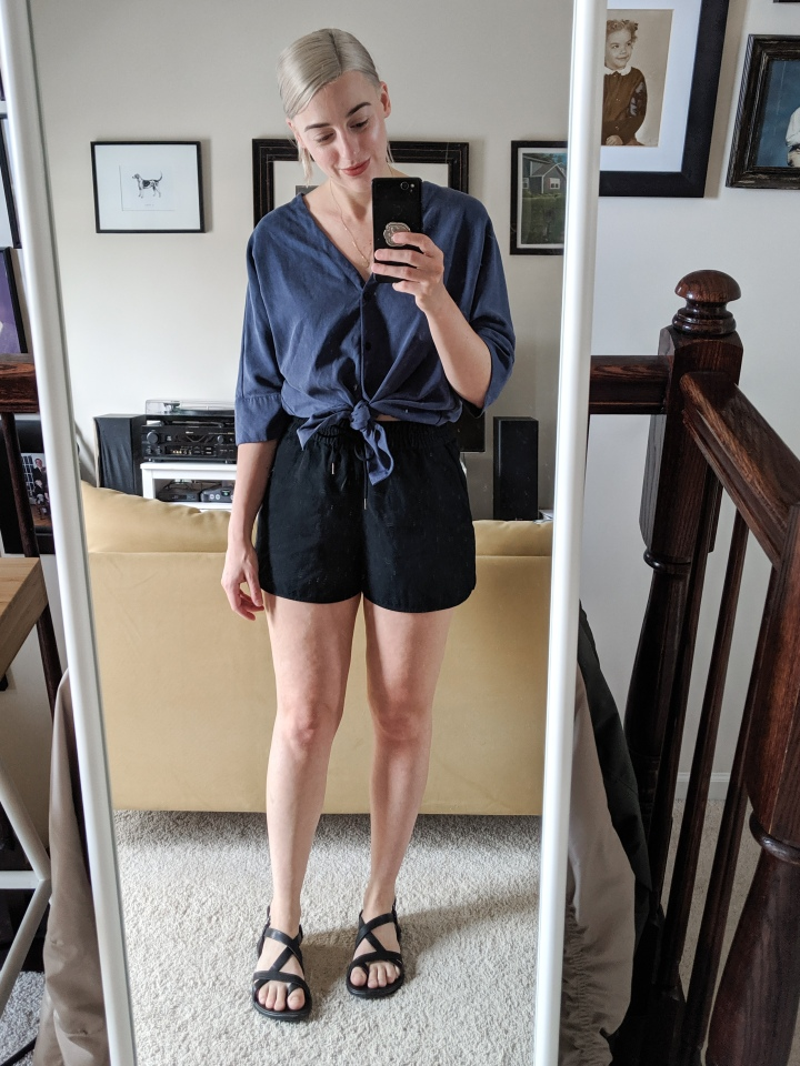 tencel shirt and japanese goweave shorts