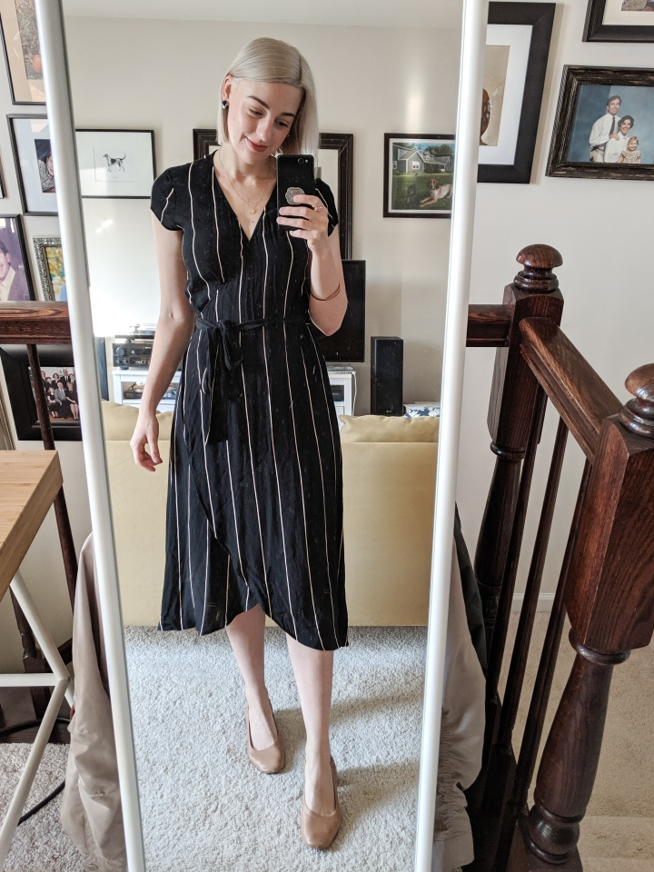 lost stripe wrap dress