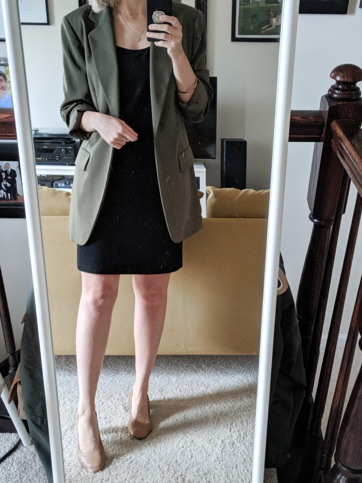 green blazer black dress
