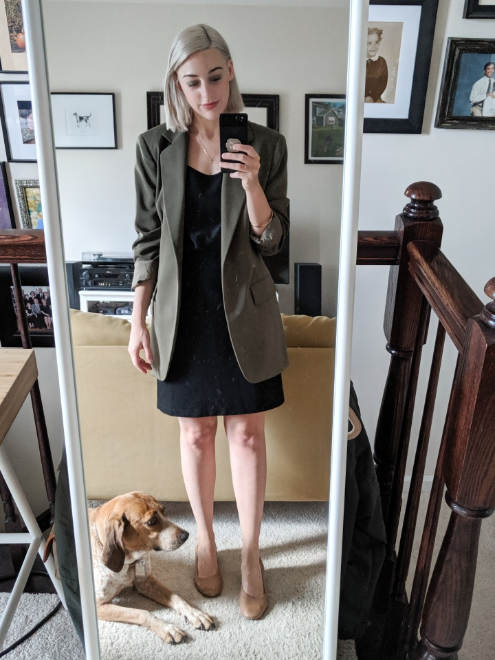 thrifted green blazer