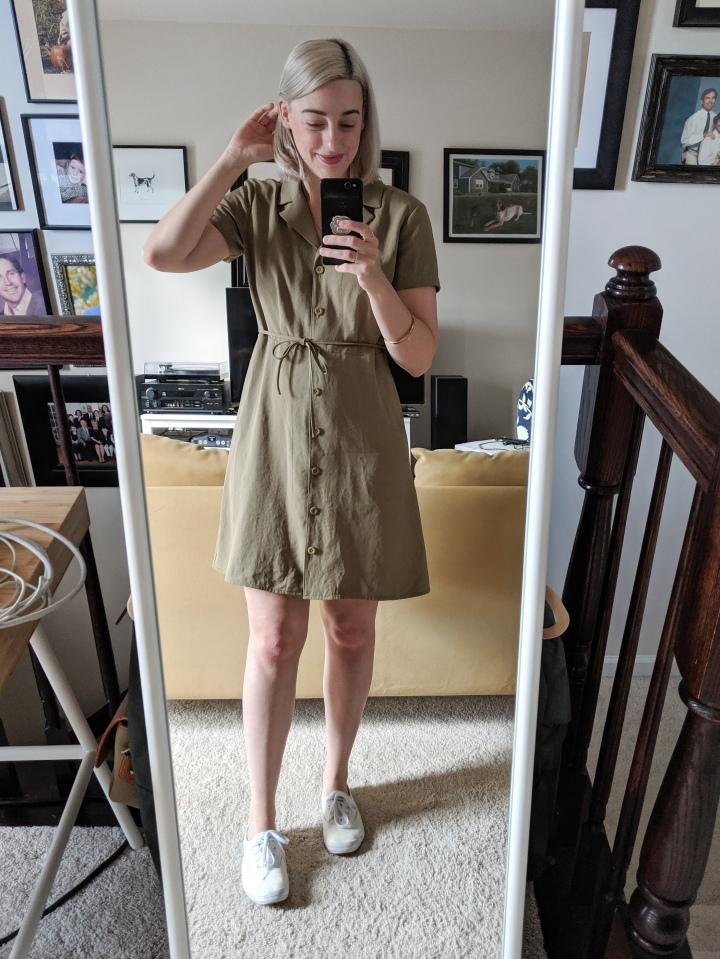 everlane goweave notch shirtdress
