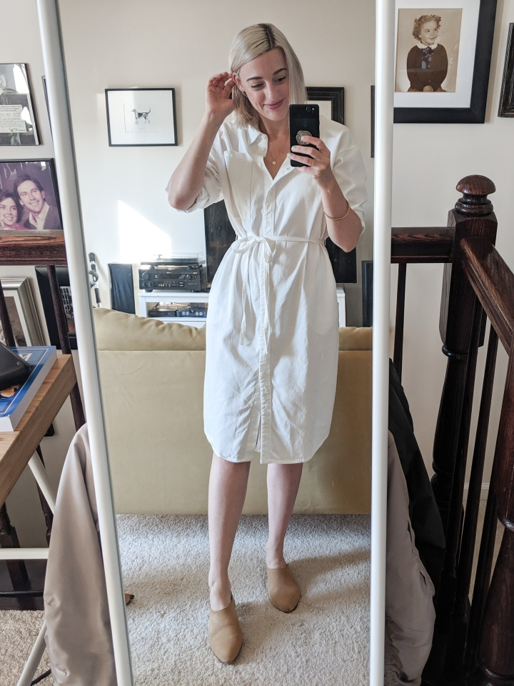 skye shirt dress and nisolo mules
