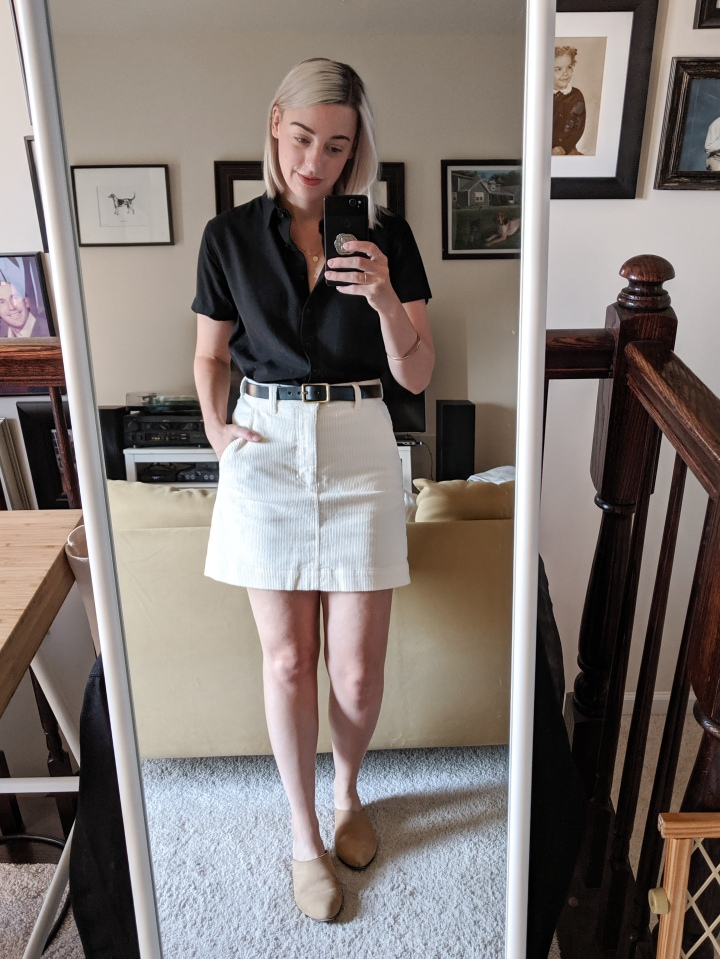 everlane corduroy skirt review