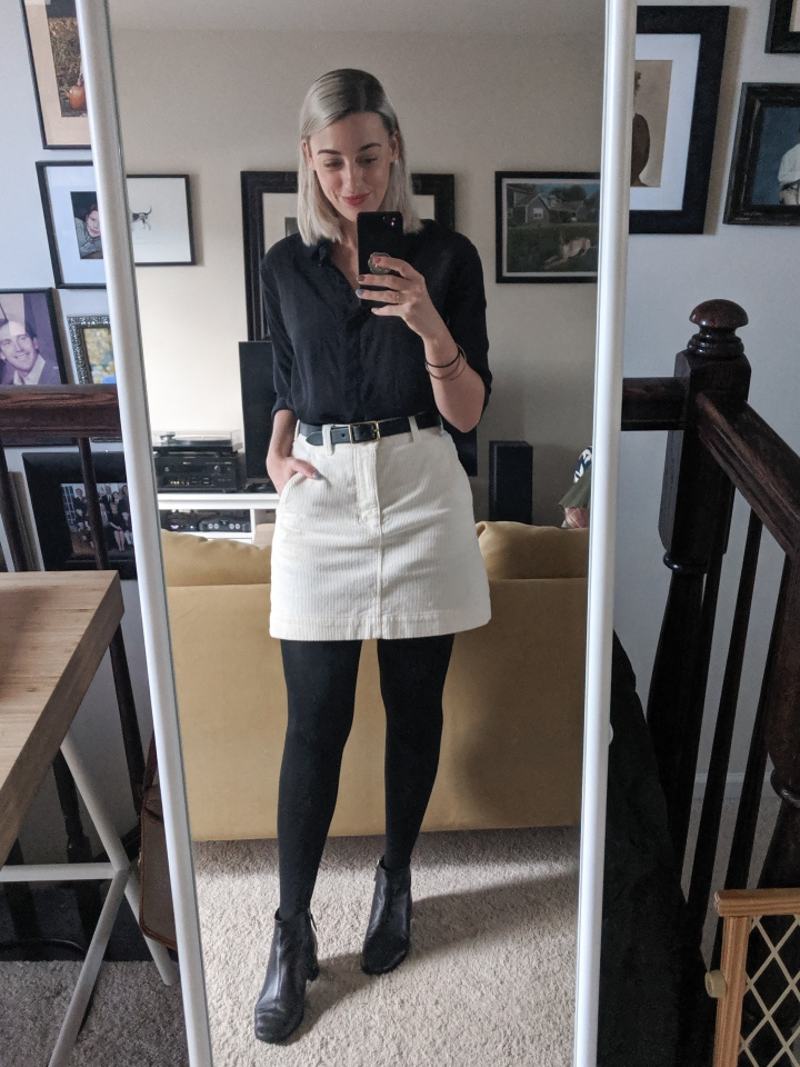 everlane silk and corduroy outfit