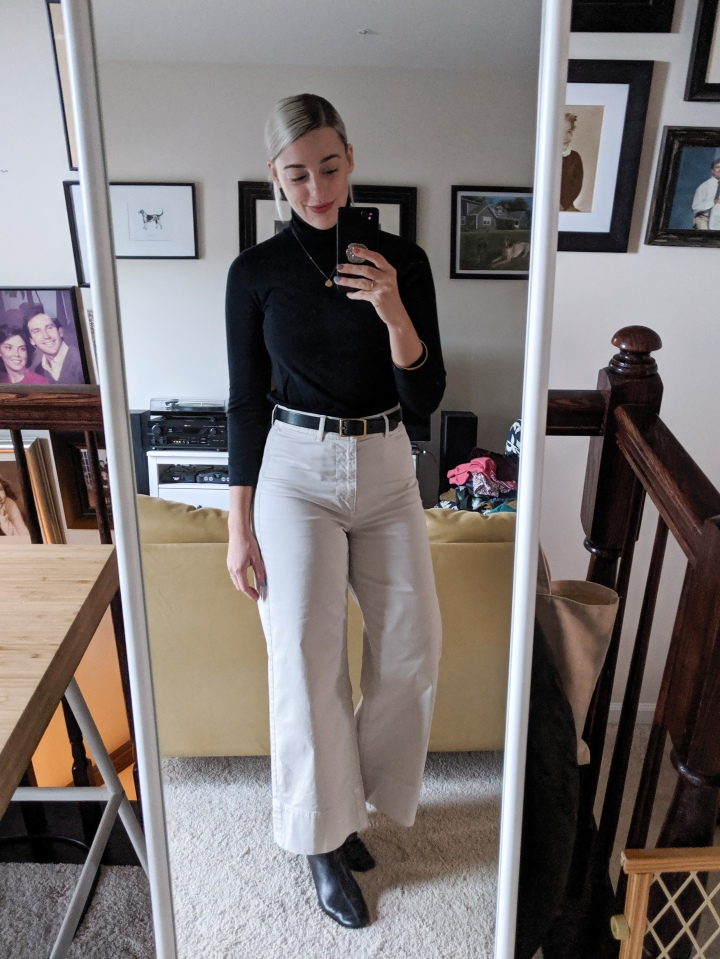 everlane wide leg chinos for fall