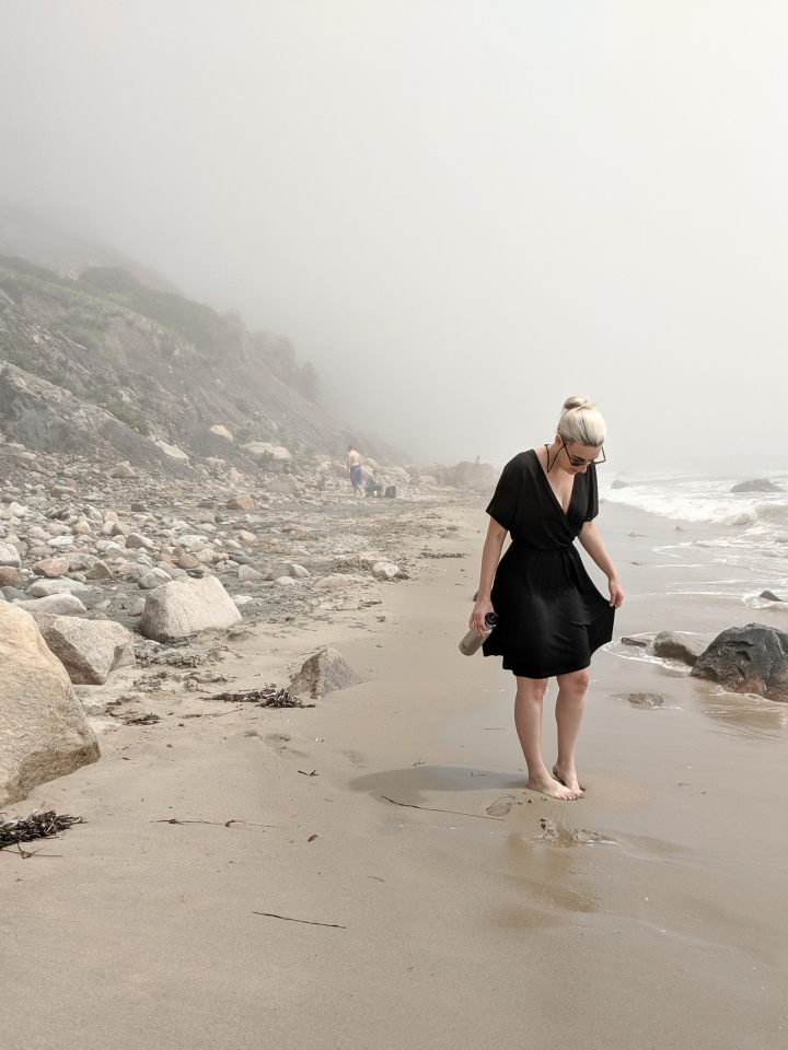 wool& brooklyn wrap dress on the beach