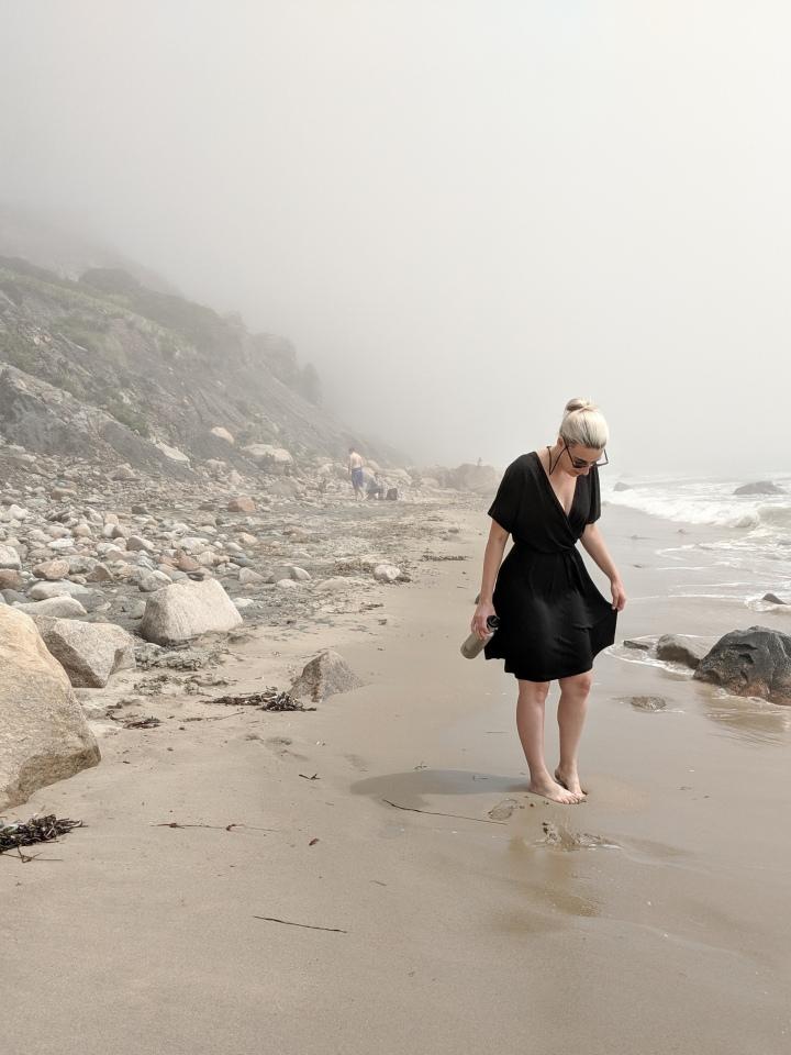 wool& brooklyn wrap dress on the beach