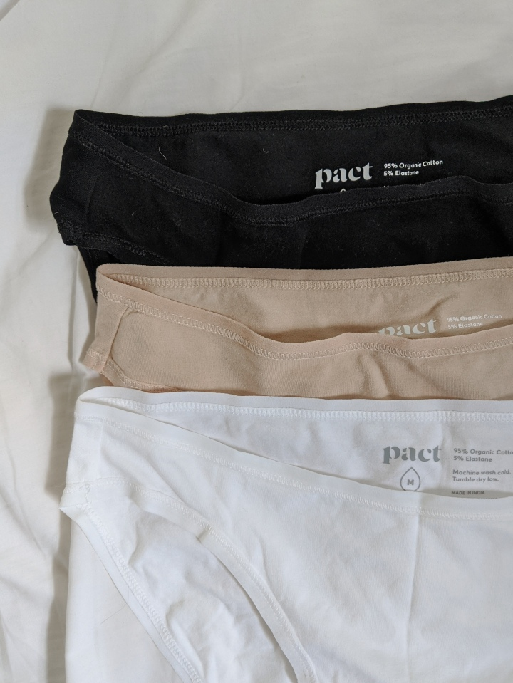 pact underwear in black pink and white