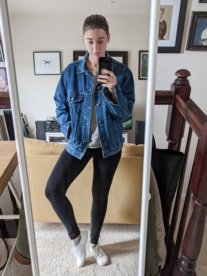 jean jacket and leggings outfit